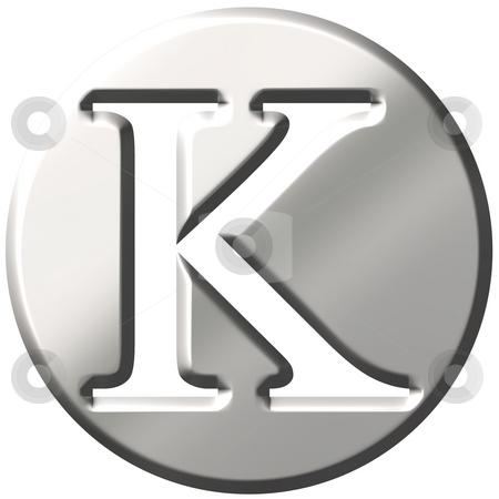 3D Steel Letter K stock photo, 3d steel letter K isolated in white by Georgios Kollidas
