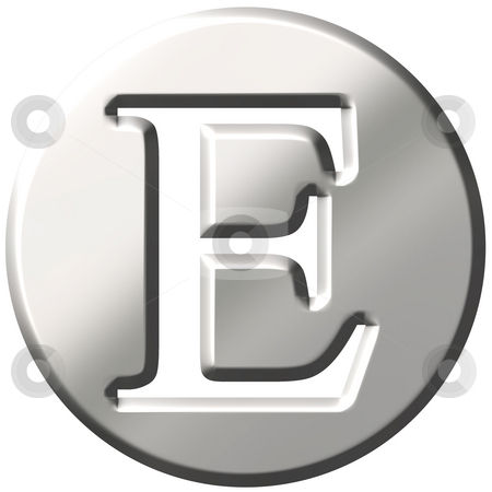 3D Steel Letter E stock photo, 3d steel letter E isolated in white by Georgios Kollidas