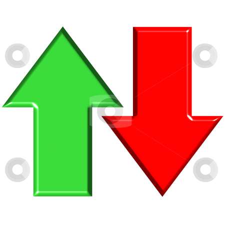 3D Up and Down Arrows stock photo, 3d up and down arrows isolated in white by Georgios Kollidas