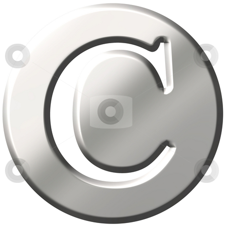 3D Steel Letter C stock photo, 3d steel letter C isolated in white by Georgios Kollidas