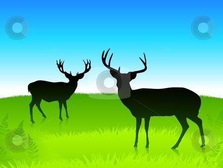 Deer in the green field with blue sky background stock vector clipart, Deer in the green field with blue sky background Original vector illustration by L Belomlinsky