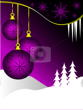 An abstract Christmas vector illustration with  purple baubles  stock vector clipart, An abstract Christmas vector illustration with  purple baubles on a graduated backdrop with a white winter scene and room for text by Mike Price