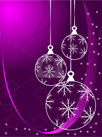 Purple Abstract Christmas Baubles Background stock vector clipart, An abstract Christmas vector illustration with white outline baubles on a purle backdrop with white snowflakes and room for text by Mike Price