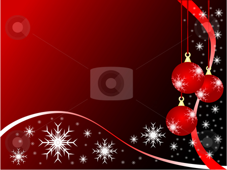 Abstract Christmas Baubles Background stock vector clipart, An abstract Christmas vector illustration with red baubles on a darker backdrop with white snowflakes and room for text by Mike Price