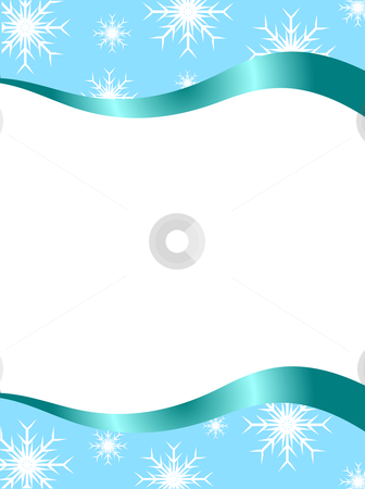An abstract Christmas vector background illustration stock vector clipart, Vector christmas stationary wirh top and bottom christmas brders with room for a letter by Mike Price