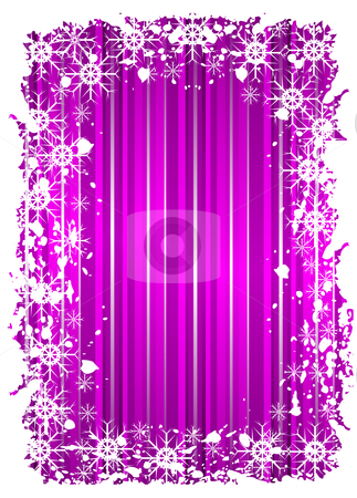 Grunge christmas frame with snowflackes on a mauve background  stock vector clipart, A grunge christmas frame with snowflackes on a mauve background with grunge border by Mike Price