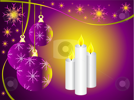 A vector illustration with a mauve christmas baubles and three c stock vector clipart, A vector illustration with a mauve christmas baubles and three christmas candles by Mike Price