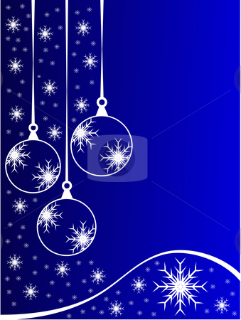 Blue Christmas Baubles Background stock vector clipart, An abstract Christmas vector illustration with clear white outline baubles on a blue backdrop with white snowflakes and room for text by Mike Price