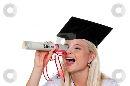 Female Graduate Playing With Diploma stock photo, Playful young woman with graduation cap looks through her rolled-up diploma. Horizontal. by Erwin Johann Wodicka