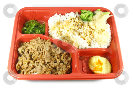 Take Out Food stock photo, Take Out Food Japanese Dish consisting of beef, vegetable and rice by Kheng Ho Toh