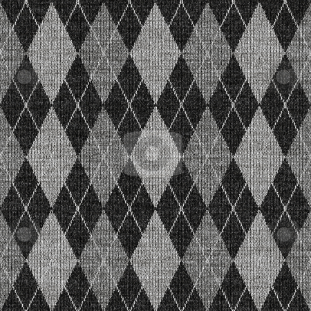 Grey tartan knitwork pattern stock photo, Seamless texture of knitted wool gingham squares in grey by Wino Evertz
