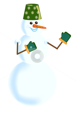 Snowball in green mittens with camomiles stock vector clipart, Snowball in green mittens with a bucket on a head in camomiles. Vector drawing by Andrey Efremov