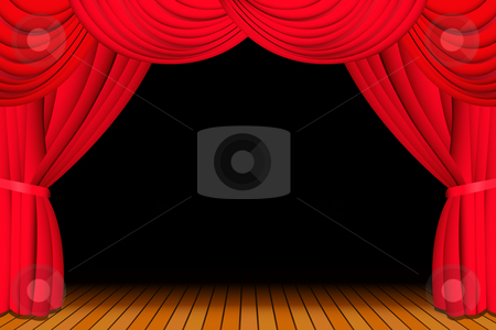 Stage with opened red curtain stock vector clipart, Stage with opened red theatre curtain for a show by Laurent Renault