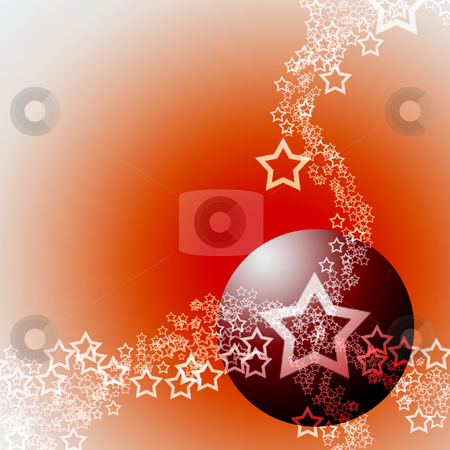 Elegant Hot Festive Abstract Theme stock photo, Festive Abstract Elegant Ornament Hot Theme with Red Bauble Ball and White Lacy Stars by Skovoroda