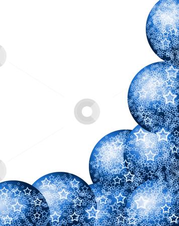Elegant Christmas Blue Corner Frame stock photo, Elegant Beautiful Christmas Bright Blue Corner Frame with Festive Bauble Balls and Lacy White Stars over Blank White Background by Skovoroda