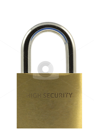 Closed Padlock stock photo, Closed padlock isolated in white by Georgios Kollidas