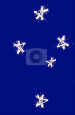 The Southern Cross stock photo, The Southern Cross constellation of Crux as represented on the Australian and New zealand flag, drawn in sparkler trails by Stephen Gibson