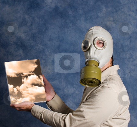 Dark Days stock photo, A man wearing a gas mask and holding a painting of a sky he painted by Richard Nelson