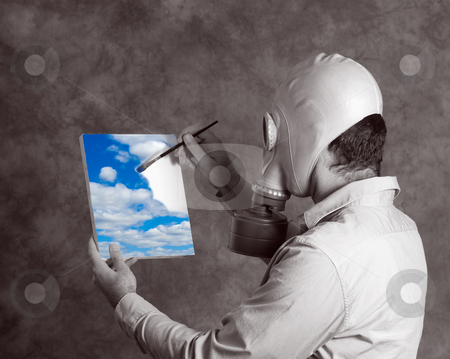 Utopia stock photo, Concept image of a dark world man wearing a gas mask, painting a bright blue sky signifying a utopia world by Richard Nelson