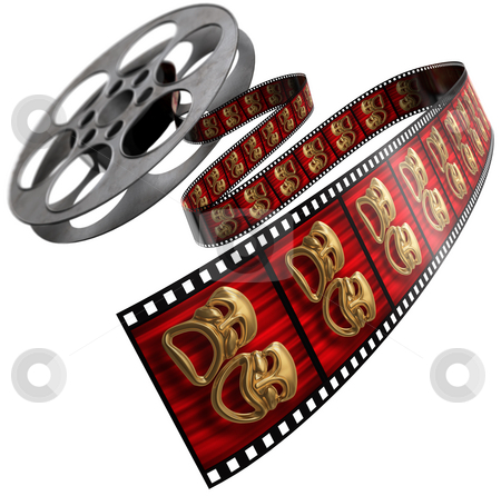 Movie Reel stock photo, Movie film reel isolated on a white background with comedy/tragedy masks on the celluloid by James Steidl