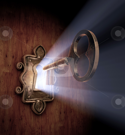 Unlocking Dreams stock photo, A close-up of a key moving towards the key hole. by James Steidl