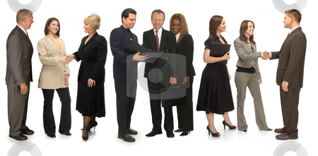 Networking Group stock photo, Group of corporate business people networking on a white background by James Steidl