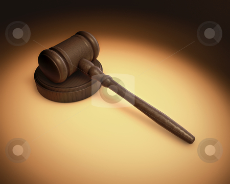 Gavel stock photo, A Judge's gavel being lite in a spotlight with an overall antique fashon by James Steidl