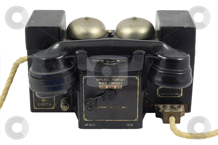 Vintage Telephone stock photo, Vintage telephone isolated in white by Georgios Kollidas