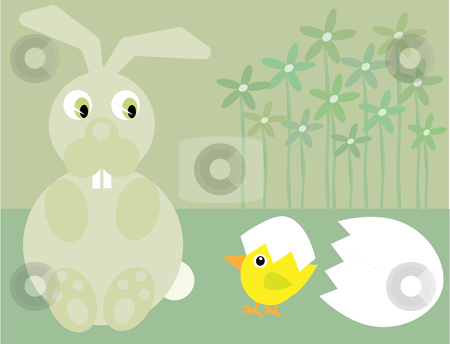 Cute Easter bunny and chick stock vector clipart, Vector illustration of an Easter bunny,chick, egg and flowers on a pale green background by Rachel Gordon