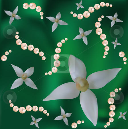 Flowers and pearls on the green   stock vector clipart, Abstract vector background with colours and pearls. Are used mesh. by Liubov Nazarova