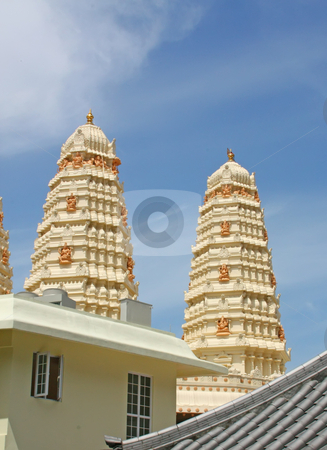 Hindu Temple Gleaming in the Sun stock photo, Hindu Temple Gleaming in the Sun with Elephant God by Kheng Ho Toh