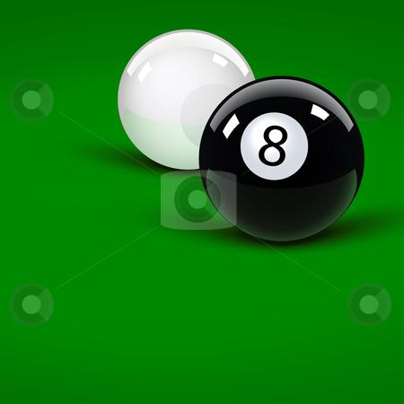 Pool balls stock vector clipart, Glossy pool balls on the green velvet by Laurent Renault