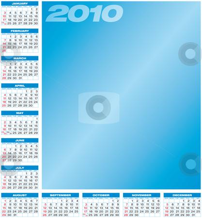 Blue Calendar 2010 stock vector clipart, Blue Calendar for year 2010, in vector format. by Germán Ariel Berra