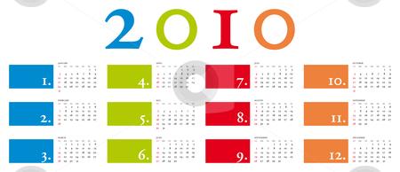 Elegant Calendar 2010 stock vector clipart, Colorful and elegant Calendar for year 2010 in vector format by Germán Ariel Berra