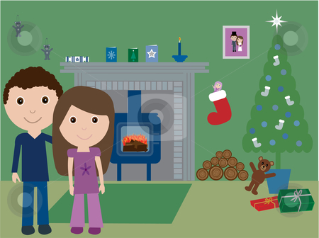 By the fire at Christmas stock vector clipart, Vector illustration of a young couple in their cosy home at Christmas by Rachel Gordon