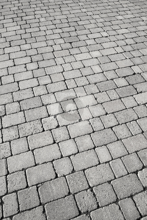 Black and white cobblestone street close up. stock photo, Black and white cobblestone street close up. by Stephen Rees