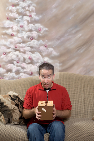 Man With Present stock photo, Portrait of a man looking surprised at his present, with a hand painted christmas tree in the background by Richard Nelson