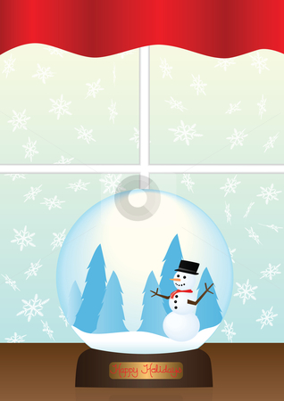 Snow Globe on Window Sill Illustration stock vector clipart, Snow Globe on Window Sill Illustration by John Teeter
