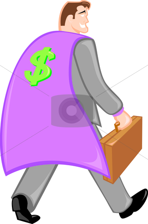 Business Super Hero stock vector clipart, Successful businessman with cape and briefcase. by Jamie Slavy