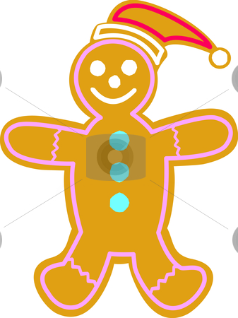 Gingerbread Man stock vector clipart, Happy gingerbread man with Santa Hat. by Jamie Slavy