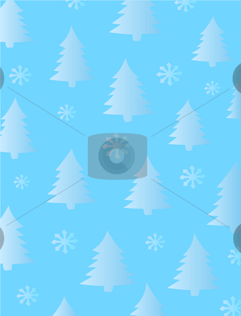 Fir Trees and Snowflakes stock vector clipart, Winter or Holiday background of trees and snowflakes. Vector pattern can be extended indefinitely by enlarging document size, copying and pasting. by Jamie Slavy