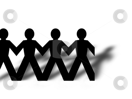 Group Man stock photo, Group of man standing in line on white background by Henrik Lehnerer