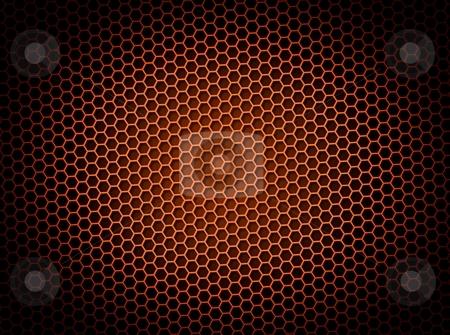 Honeycomb Background Red stock photo, Red honeycomb background 3d illustration or backdrop with light effect by Henrik Lehnerer