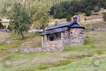 Old roadside shrine stock photo, Small, old, stone roadside shrine in Pyrenees mountain - Andorra. by Tomasz Parys
