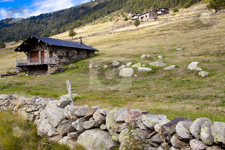 Stony cottage - Pyrenees stock photo, Small stony cottage, rural view in Pyrenees mountain - Andorra. by Tomasz Parys