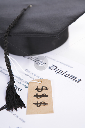 Expensive education stock photo, Concept of expensive education that diploma with tassel and price tag by Rudyanto Wijaya