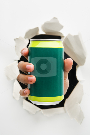 Breakthrough in drinking innovation stock photo, Hand holding green can mean breakthrough in drinking innovation - one of the breakthrough series by Rudyanto Wijaya