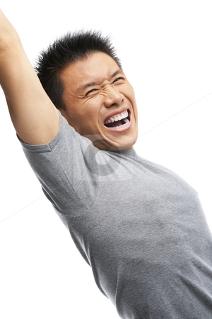 Asian man screaming to express his excitement stock photo, Portrait of Asian man screaming to express his excitement against white background by Rudyanto Wijaya