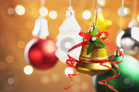 Christmas ornaments stock photo, Group of colorful Christmas ornament with blurred light on warm background by Rudyanto Wijaya