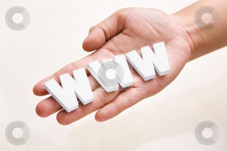 Hand holding WWW on palm stock photo, Hand holding WWW text block on palm by Rudyanto Wijaya